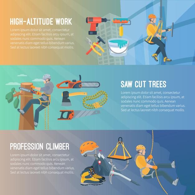 Горизонтальный плоский цветной баннер о высотных работах спиленных деревьев профессии альпиниста векторная иллюстрация Бесплатные векторы