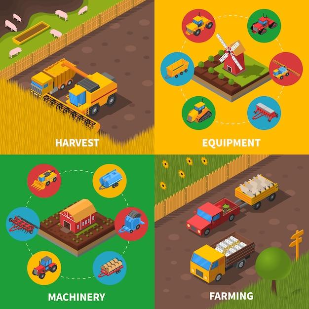 Сельскохозяйственная техника изометрические векторное изображение Premium векторы