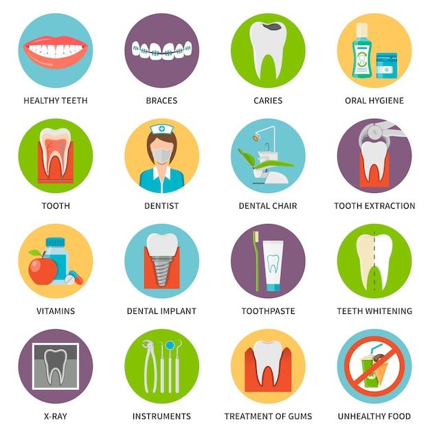 歯科医療のアイコンを設定 Premiumベクター