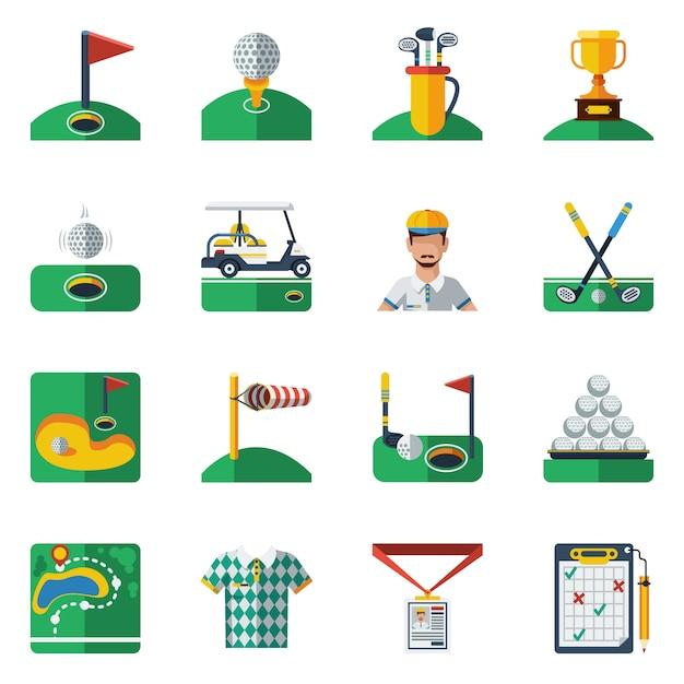 ゴルフのアイコンを設定 無料ベクター
