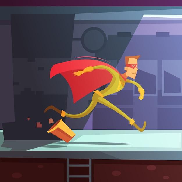 Супергерой работает на улице с домами и корзиной мультяшный векторная иллюстрация Premium векторы
