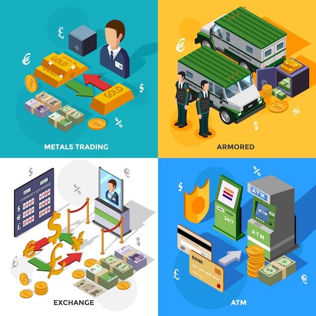 銀行等尺性デザインコンセプト 無料ベクター