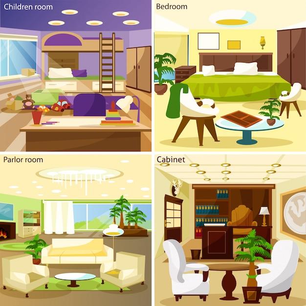 リビングルームのインテリアデザインコンセプトの背景 無料ベクター