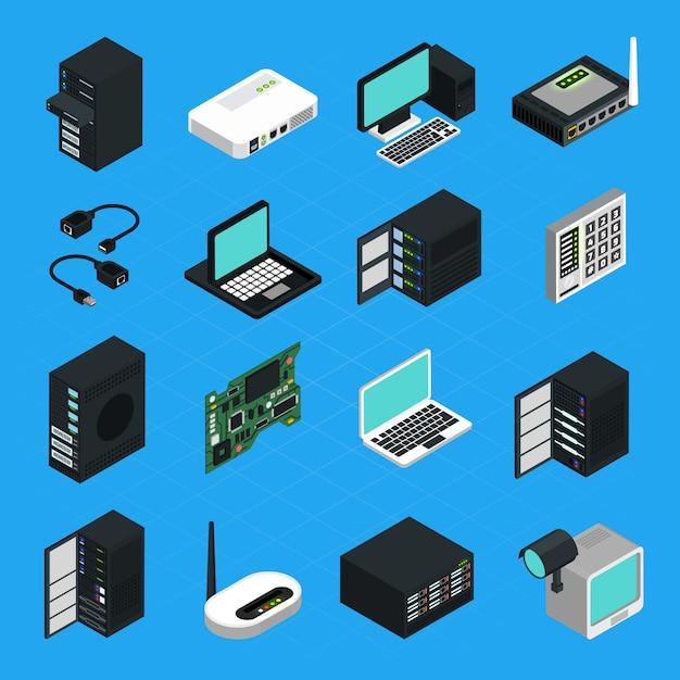 データセンターサーバー機器のアイコンを設定 Premiumベクター