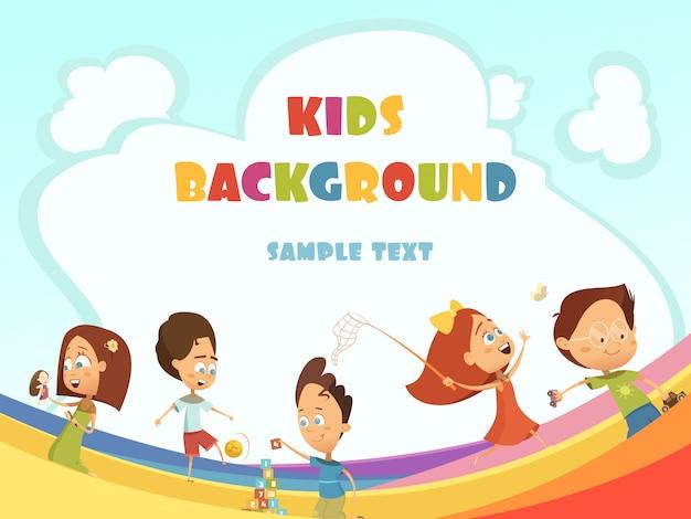 遊ぶ子供たちの漫画の背景 無料ベクター