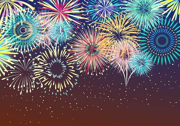 お祝い花火の抽象的な背景 無料ベクター