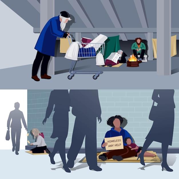 ホームレスの人々フラットコンポジション 無料ベクター