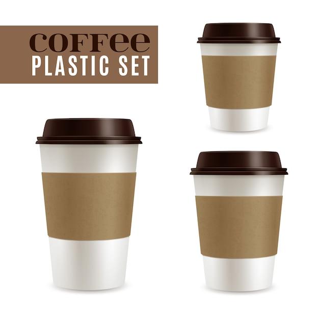 コーヒーカバーセット Premiumベクター