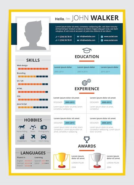 男性候補教育職業経験賞およびその他の情報履歴書フラットベクトル図履歴書テンプレート 無料ベクター