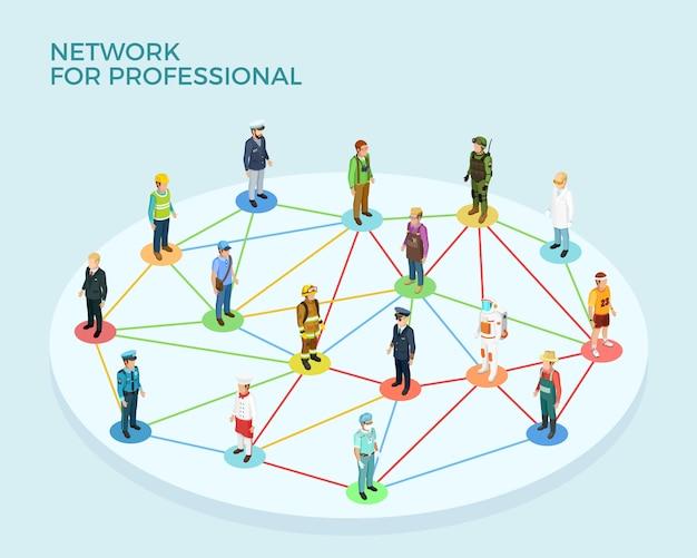 ネットワークプロフェッショナル等尺性概念 無料ベクター