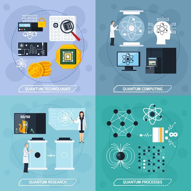 量子プロセス設計コンセプト 無料ベクター