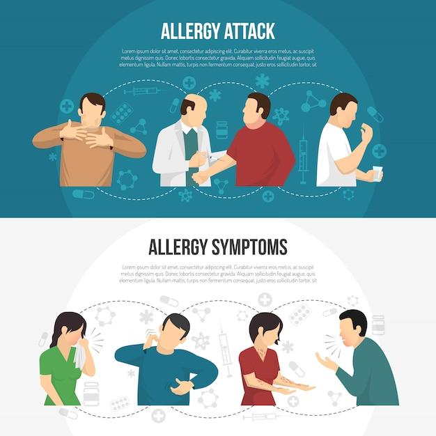 Набор баннеров для аллергиков Бесплатные векторы