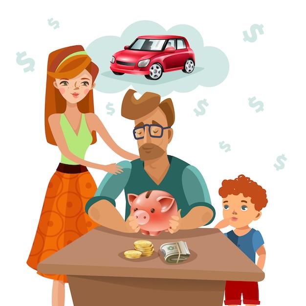 Семейный бюджет финансовый план плоский плакат Бесплатные векторы