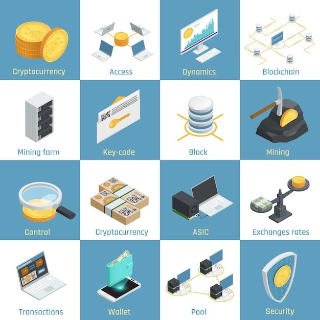 クリプト通貨マイニング、ブロックチェーン、セキュリティ、為替レート、キーコード分離ベクトル図のための機器と等尺性のアイコン Premiumベクター
