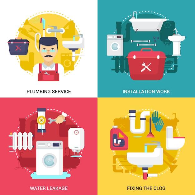目詰まりした排水管の清掃および設備の配管サービスの概念 無料ベクター