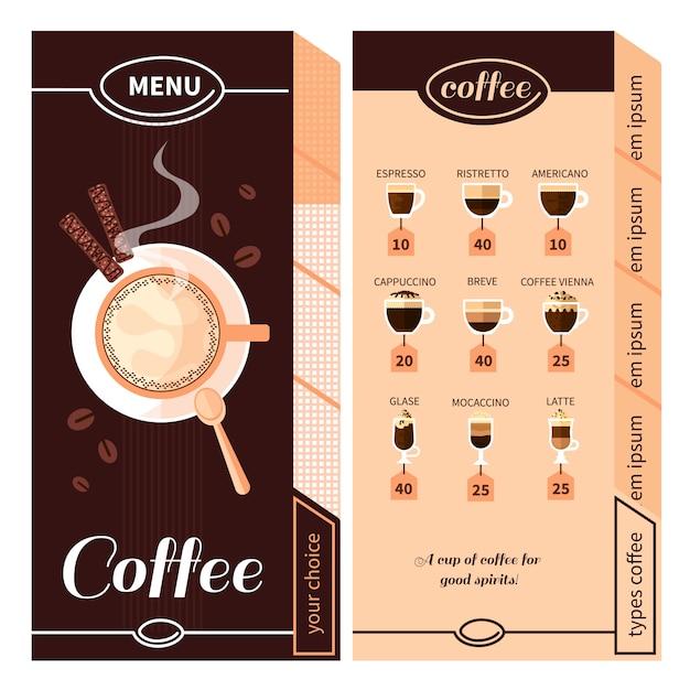 Кофейное меню дизайн Бесплатные векторы