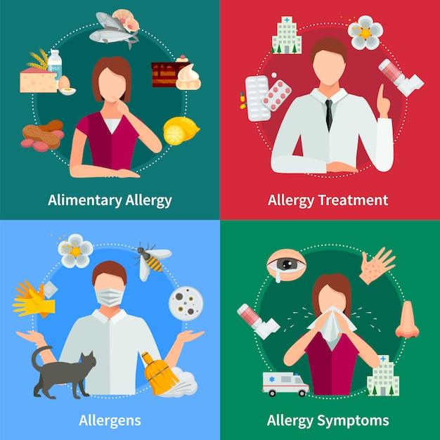 アレルギーと治療の概念アレルギーのベクトル図アレルギーセット。アレルギーデザインセット。アレルギーの隔離された要素。 無料ベクター