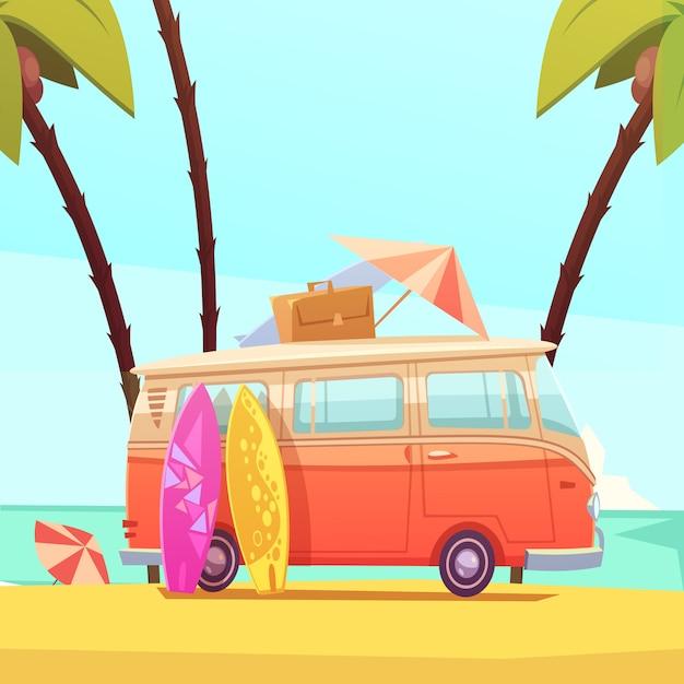 Серфинг и автобус ретро мультфильм иллюстрации Бесплатные векторы