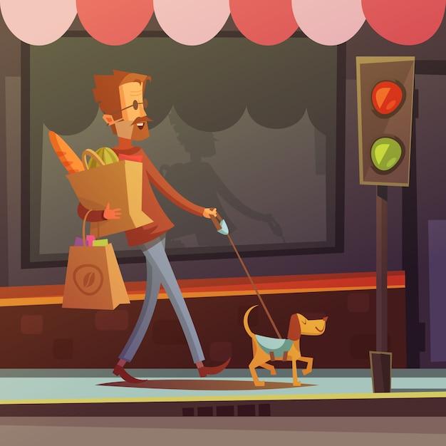 犬の道のベクトル図に無効になっている盲目の男を描いたカラー漫画イラスト 無料ベクター