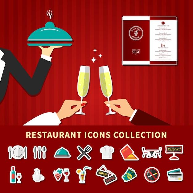 レストラン絵文字アイコンを設定 無料ベクター