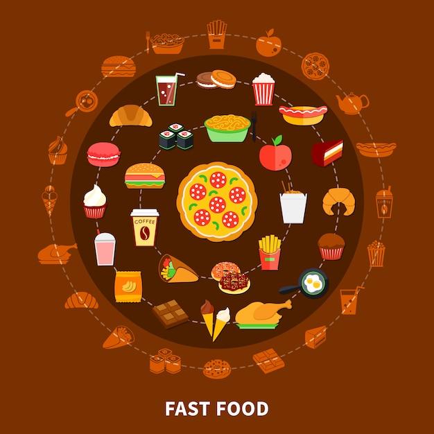 Фастфуд меню круг композиция плакат Бесплатные векторы