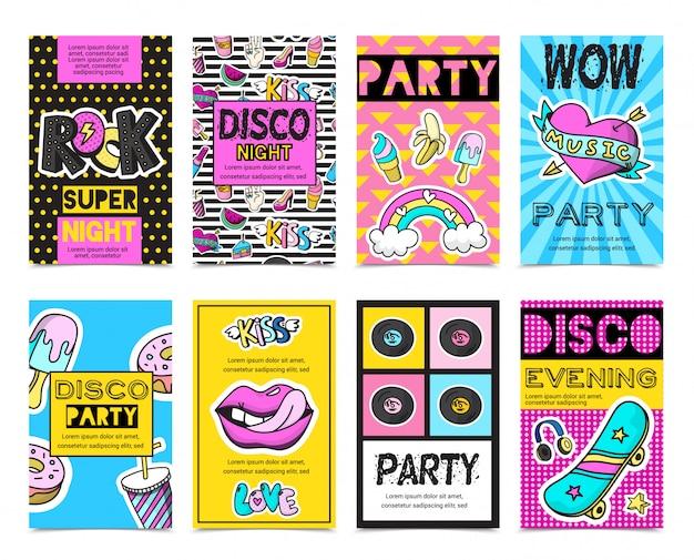 Цветные стильные модные патч значки баннеры Бесплатные векторы