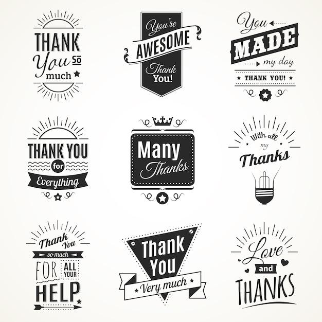 Монохромная коллекция из девяти винтажных знаков благодарности с элементами солнечного света в стиле ретро шрифта, изолированных векторная иллюстрация Бесплатные векторы