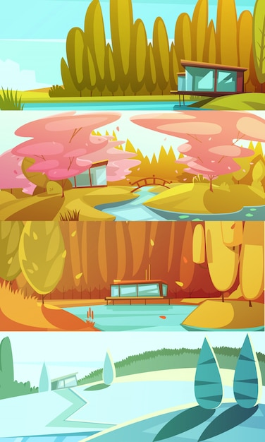 Сельские пейзажи сезонов горизонтальные фоны, установленные с зимой лето осень и весна ретро изолированных векторная иллюстрация Бесплатные векторы