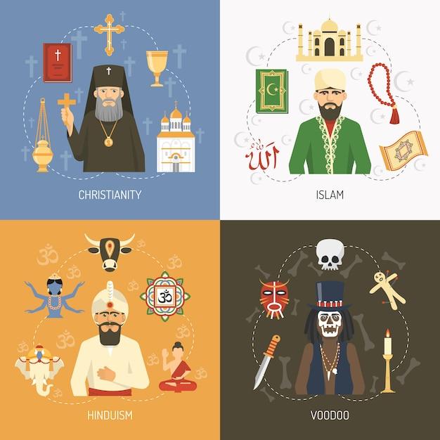 宗教概念の要素とキャラクター 無料ベクター