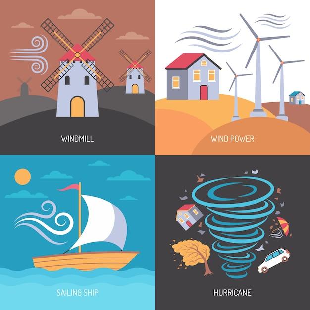 Концепция энергии ветра плоская Бесплатные векторы