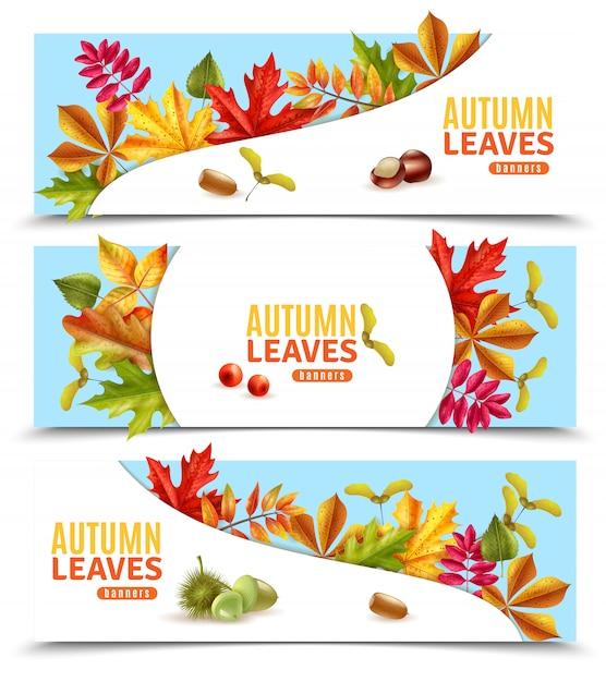 秋の葉のバナー 無料ベクター