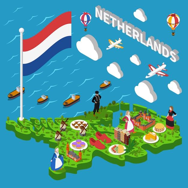Туристическая карта нидерландов Бесплатные векторы