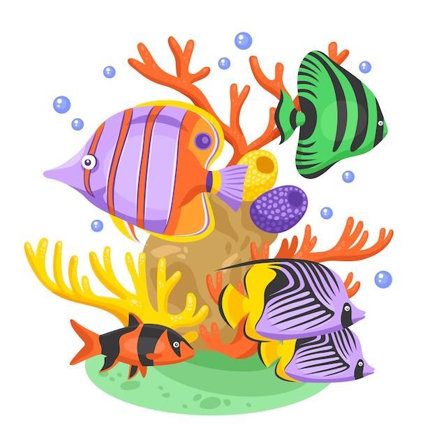 エキゾチックな熱帯魚のイラスト 無料ベクター