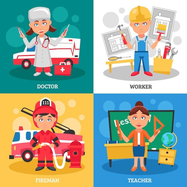 職業キャラクターデザインコンセプト。医者、労働者、消防士、先生 無料ベクター