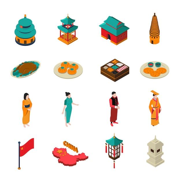 中国等尺性観光セット 無料ベクター