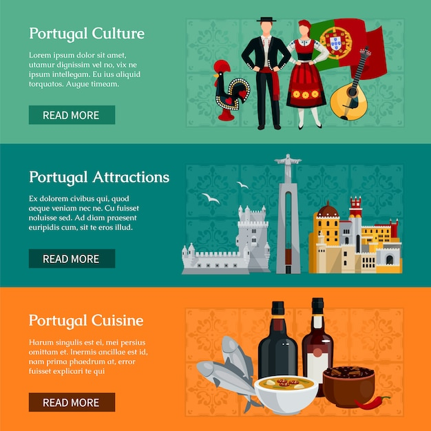 Горизонтальные плоские баннеры, представляющие элементы достопримечательностей и кухни португалии культуры изолированных векторная иллюстрация Бесплатные векторы