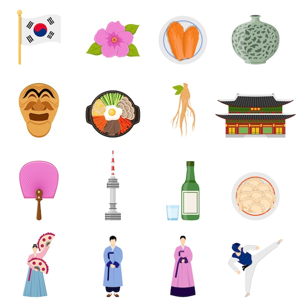 韓国文化のシンボルフラットアイコンコレクション 無料ベクター