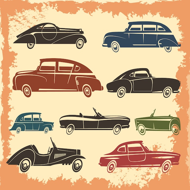 Коллекция ретро-моделей автомобилей в винтажном стиле на фоне абстрактных векторных иллюстраций Бесплатные векторы