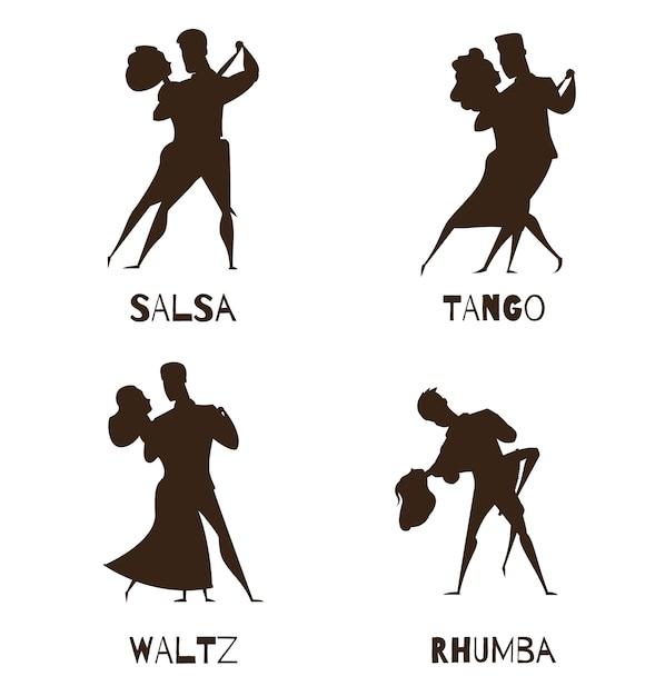 Классический партнер ретро танец черный мультфильм коллекция с вальс, танго и сальса, изолированных векторная иллюстрация Premium векторы
