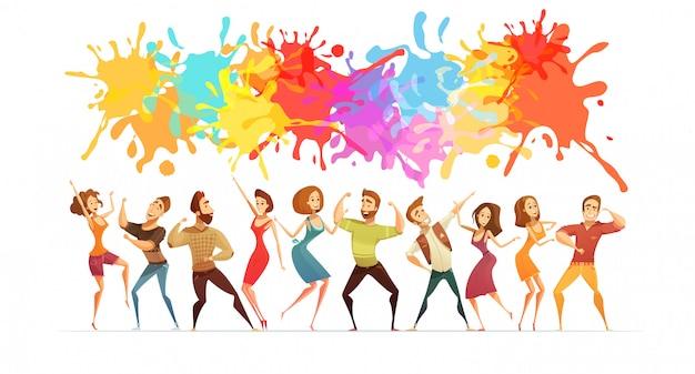 明るいペンキの飛散と現代的なダンスの漫画人数字でお祝いポスター Premiumベクター