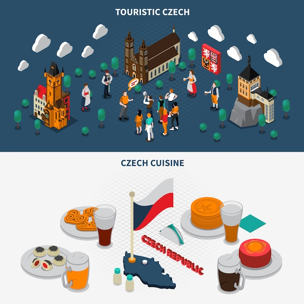 チェコ共和国観光等尺性要素 無料ベクター