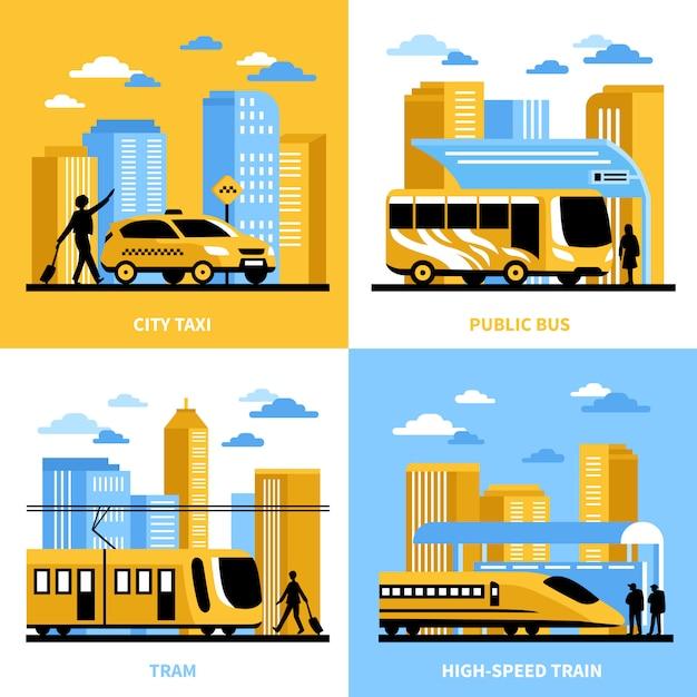Концепция дизайна городского транспорта Бесплатные векторы