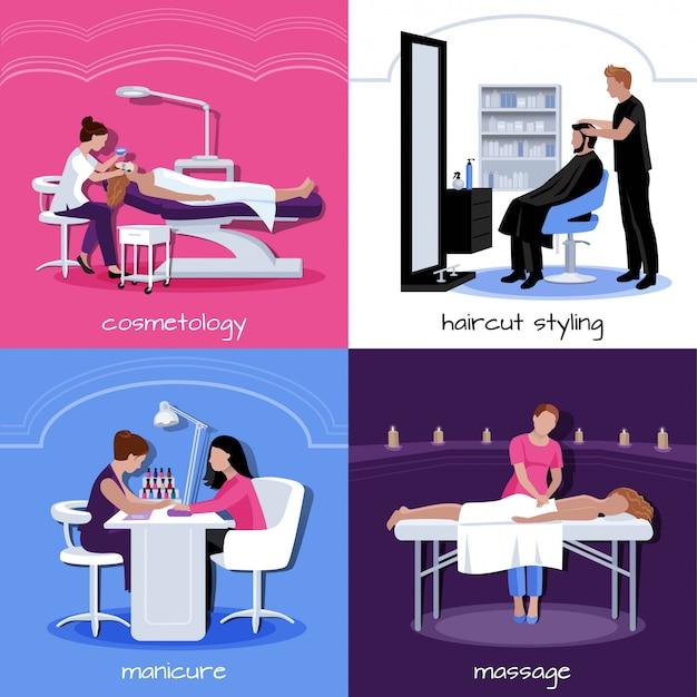 フラットスタイルの分離ベクトル図で様々なリラックスできるスタイリッシュで化粧品の手順と美容院の人々の概念 無料ベクター