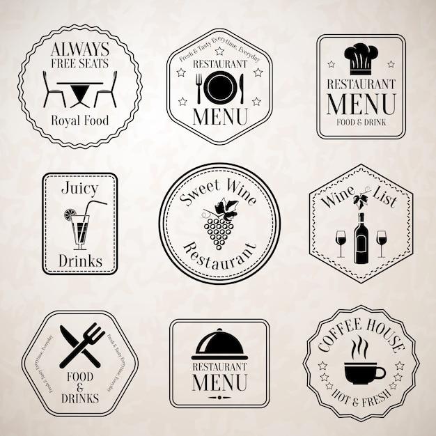 Марки меню ресторана черные Бесплатные векторы