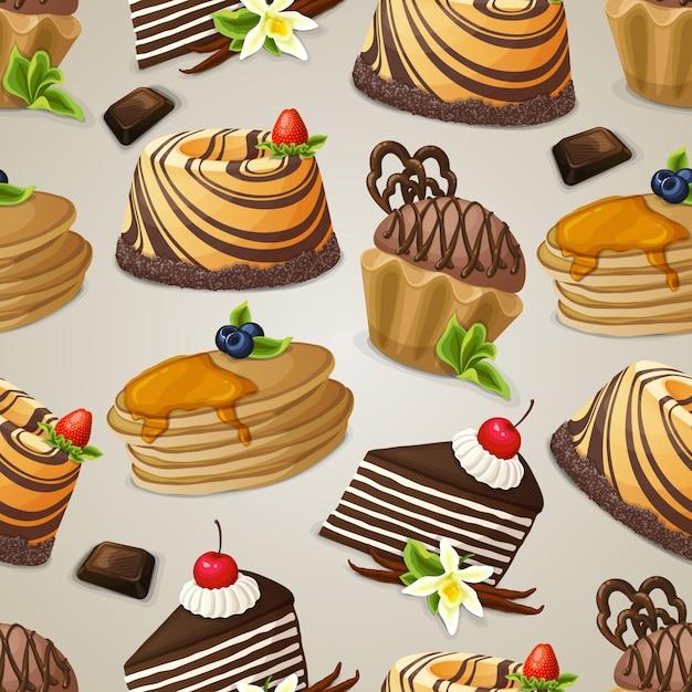 お菓子デザートのシームレスパターン 無料ベクター