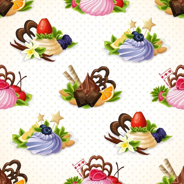 お菓子のシームレスパターン 無料ベクター