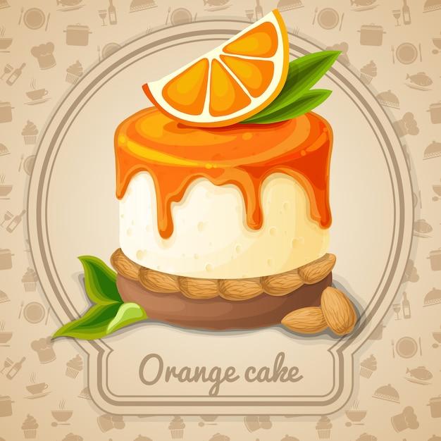 オレンジケーキのイラスト Premiumベクター