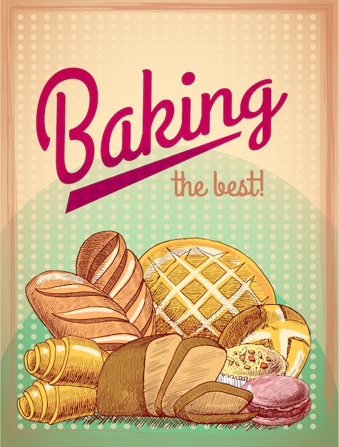 最高のペストリー食品、パン、ケーキの品揃えベクトル図を焼く 無料ベクター