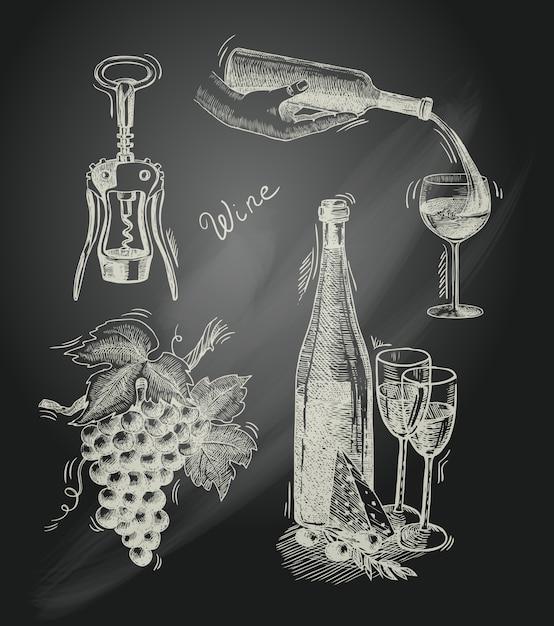 ワイン黒板装飾セット 無料ベクター