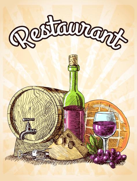 Вино сыр и хлеб старинный эскиз декоративные рисованной ресторан плакат векторная иллюстрация Premium векторы